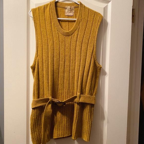Vintage mustard yellow sweater vest dress